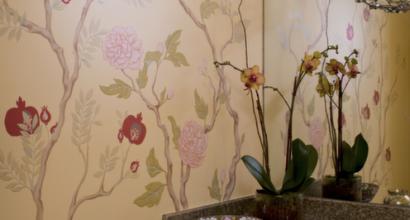 Bathroom with Custom Decorative Painting